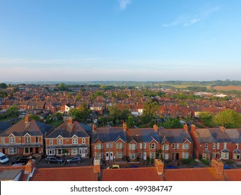 Aerial view of roof tops of British housing development in Yeovil, UK