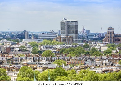Aerial View of Roofs and Houses of London, UK.