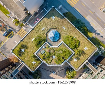 Aerial view of rooftop garden in urban residential area