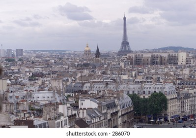 Aerial view of rooftops around the Eiffel tower, Paris, France, July 2001 (Keith Levit)