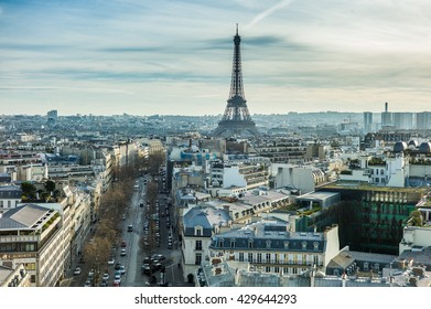 Aerial view of rooftops around the Eiffel tower, Paris, France