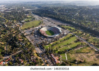 Aerial view of Rose Bowl Stadium and Arroyo Seco parks near Los Angeles on April 12, 2017 in Pasadena, California, USA.