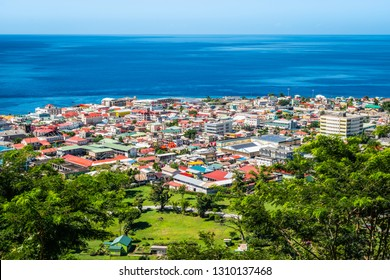 Aerial view of Roseau city, Dominica.