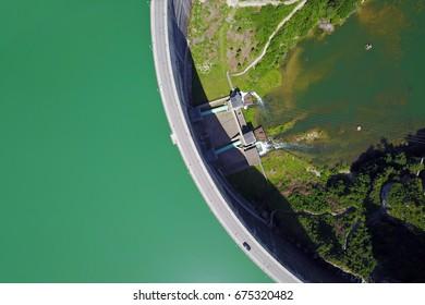 Aerial view of Rossens Dam, forming Lake Gruyere in Switzerland.