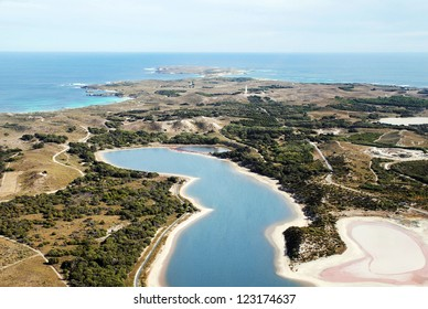 Aerial view of Rottnest Island in Western Australia taken from a plane