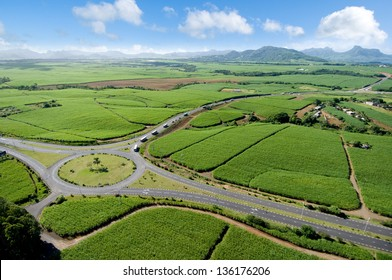 Aerial view of rounabout Mauritius with sugar cane field