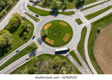 aerial view of roundabout in the city in  the summer