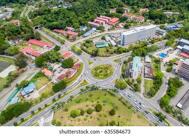 aerial view of roundabout in Kota Kinabalu city