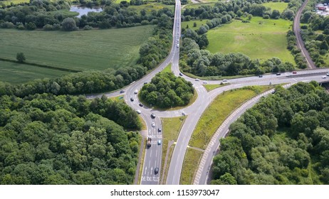 Aerial view of roundabout, UK