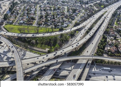 Aerial view of Route 5 and 118 freeway interchange in the San Fernando Valley portion of Los Angeles California.