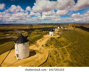 Aerial view of Route of Don Quixote with windmills in Consuegra, Spain