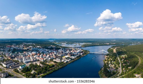 Aerial view of Rovaniemi city in Lapland province in northern Finland