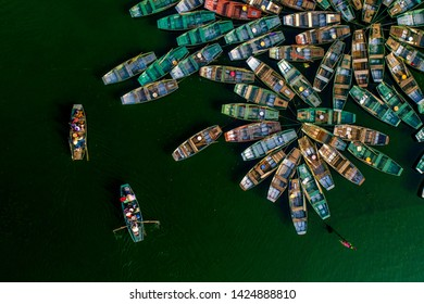 Aerial view rowing boat waiting for passenger at Tam Coc, Tourists traveling boat, Tam Coc, Ninh Binh, Vietnam 18.05.2019