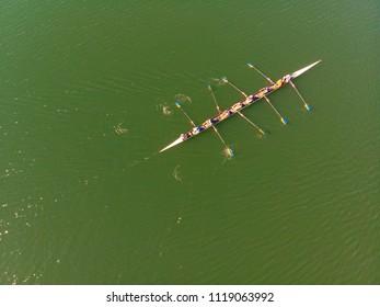 Aerial View of rowing team