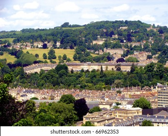 Aerial view of the Royal Crescent, Bath, England