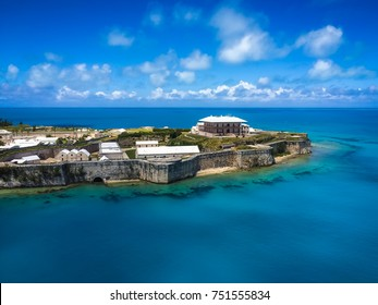 Aerial view of Royal Naval Dockyard, King's Wharf, Bermuda