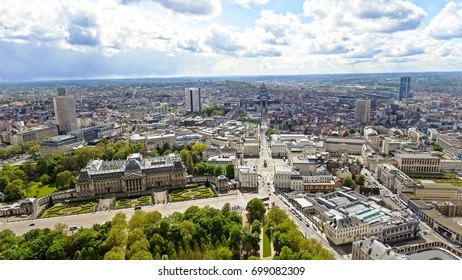 Aerial View of the Royal Palace of Brussels ( Palais de Bruxelles ) and the Cityscape in Belgium feat. Museums and Famous Landmarks Around Central and Town Hall