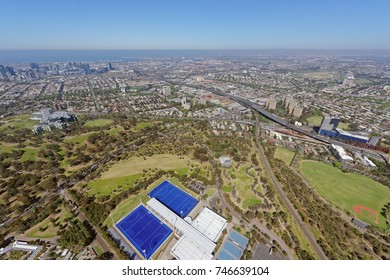 Aerial view of Royal Park, looking south-west towards Docklands