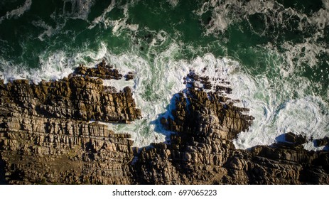 Aerial view of the rugged coastline allong the Gansbaai / De Kelders coast line in the overberg region in the Western Cape of South Africa