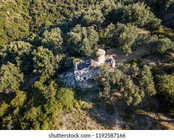 Aerial view of ruined monastery in Albania (Lukove) Albanian Riviera