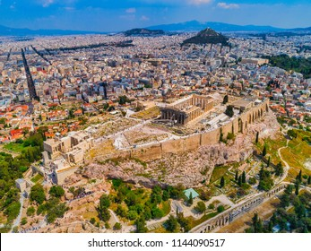 Aerial view of the ruins of the Acropolis and the skyline of Athens, on a sunny summer day, Greece