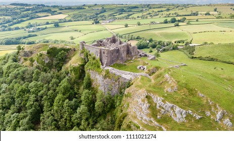 Aerial view of the ruins of Carreg Cennen Castle in the Camarthenshire countryside