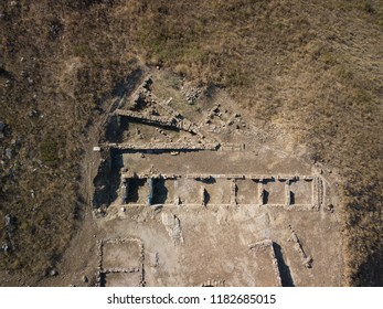 Aerial view of ruins located in Finiq Archaeological park, Albania