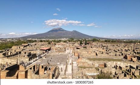 Aerial view at ruins of Pompeii with Vesuvius. Pompeii, Italy - 05 October 2020