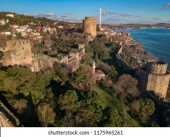 Aerial view of Rumeli Castle and Fatih Sultan Mehmet Bridge in Istanbul Turkey