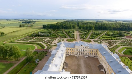 Aerial view of Rundale Castle, Lithuania.