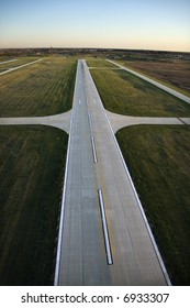 Aerial view of runway in Chicago, Illinois.