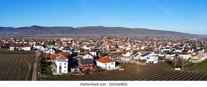 Aerial view of Ruppertsberg, Rhineland-Palatinate, Germany