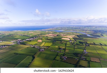 Aerial view of Rural countryside farmland on the west coast of county Kerry in the republic of Ireland