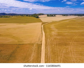 Aerial view of rural dirt road with golden fields stretching to the horizon.