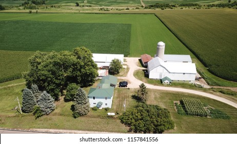 Aerial View Of Rural Farm in Sparta Wisconsin