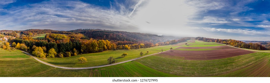 aerial view of rural farmland in Germany