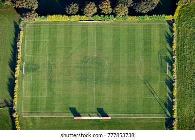 Aerial view of a rural football pitch, UK.