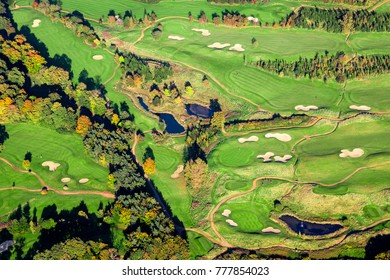 Aerial view of a Rural Golf Course, UK.