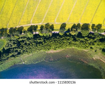 Aerial view of rural landscape of lake district - Mazury, Poland. Mamry Lake on the bottom