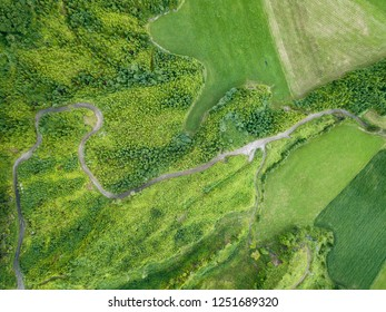 Aerial view of a rural road near Sete Cidades on the island of Sao Miguel in the Azores.