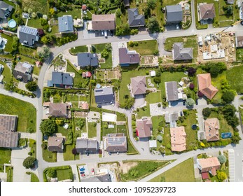 Aerial view of rural village in Switzerland with building and ro