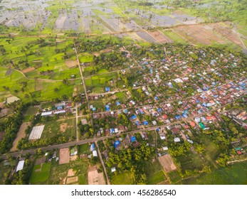 Aerial view of rural villages in Thailand