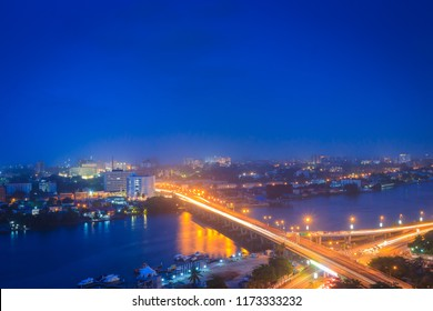 Aerial View of Rush Hour Traffic at Night on Falomo Bridge Connecting  Ikoyi to Victoria Island, Lagos, Nigeria