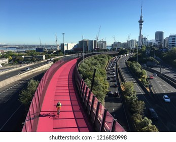 Aerial view of rush hours traffic on Auckland Central Motorway one of the busiest stretches of road in New Zealand.