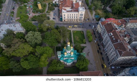 Aerial view of the Russian Church, Sofia, Bulgaria
