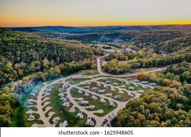 Aerial view of RV campground featuring beautiful sunset in HDR