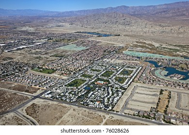 Aerial view of an RV Resort along with the Indio Hills in the Coachella Valley