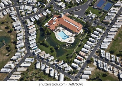 Aerial view of RV Resort Clubhouse with swimming pool and amenities