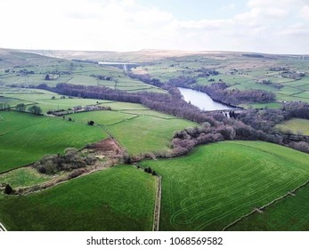 Aerial view of Ryburn and Baitings Reservoir above Ripponden, Calderdale, West Yorkshire, UK