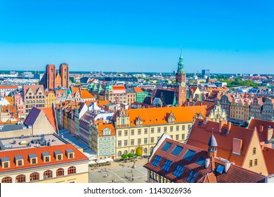 Aerial view of Rynek, the picturesque square in central Wroclaw, Poland